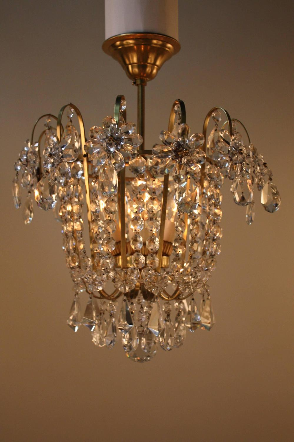 French Semi Flush Mount Crystal Chandelier at 1stdibs