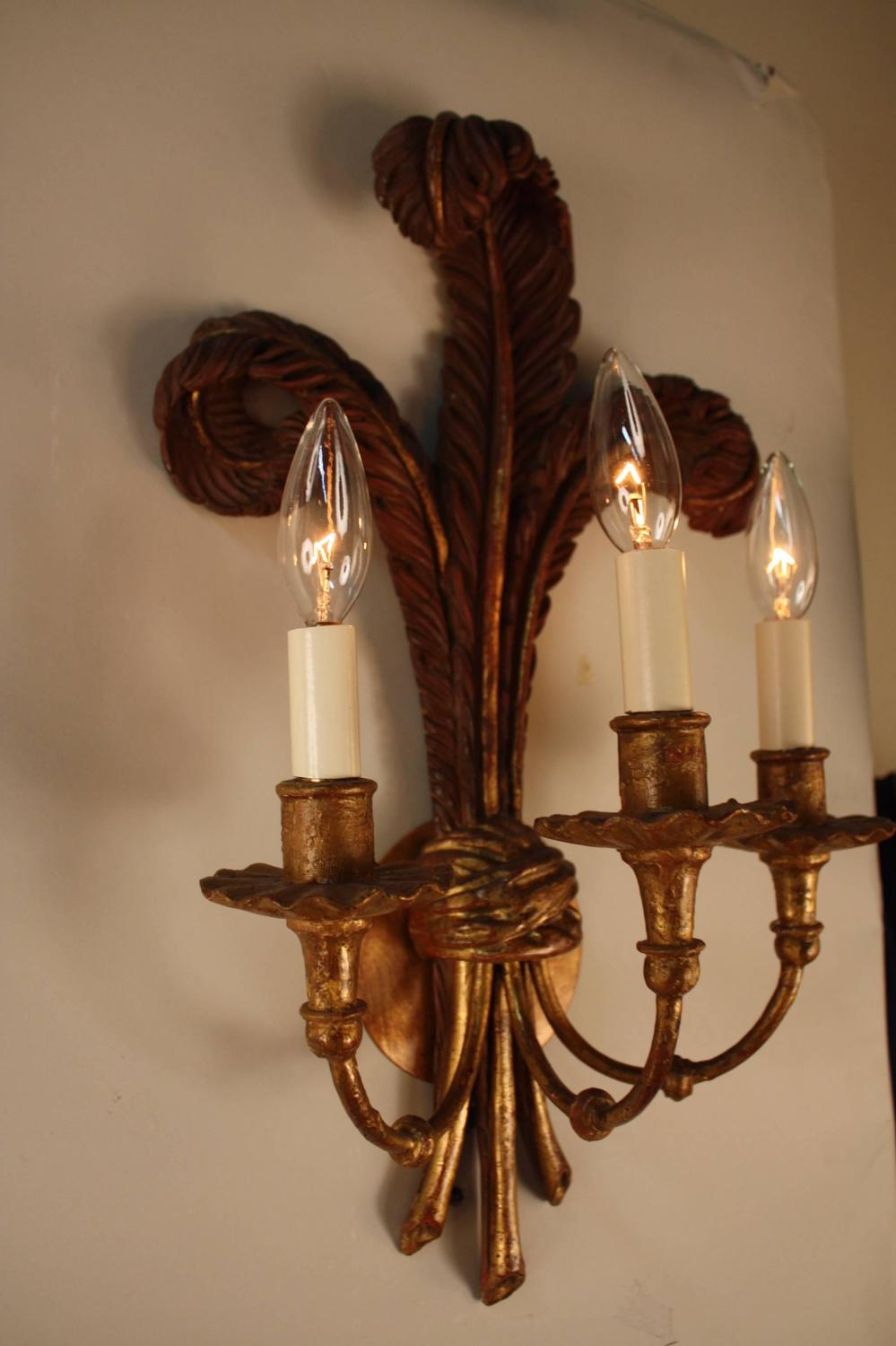 Pair of Italian Giltwood Wall Sconces For Sale at 1stdibs