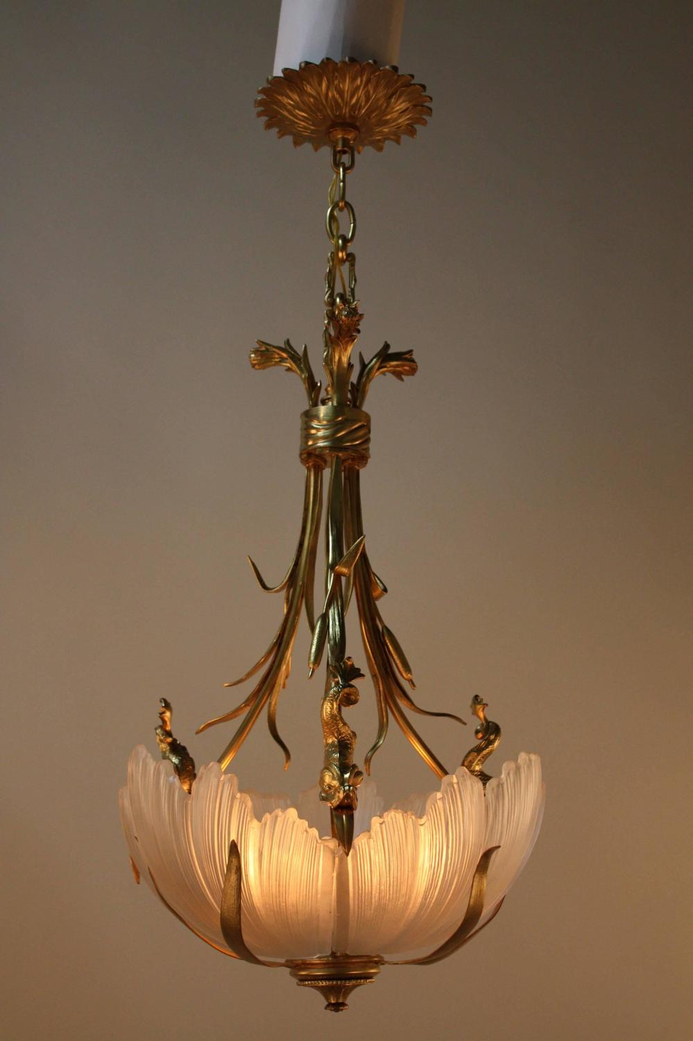 French unique 1950s bronze and crystal chandelier for sale for Unique chandeliers for sale