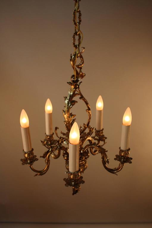 French bronze art nouveau chandelier at 1stdibs for Chandelier art nouveau