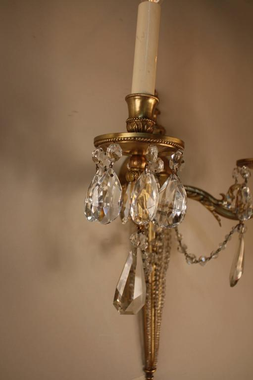 French Crystal Wall Sconces : Pair of French Bronze and Crystal Wall Sconces For Sale at 1stdibs