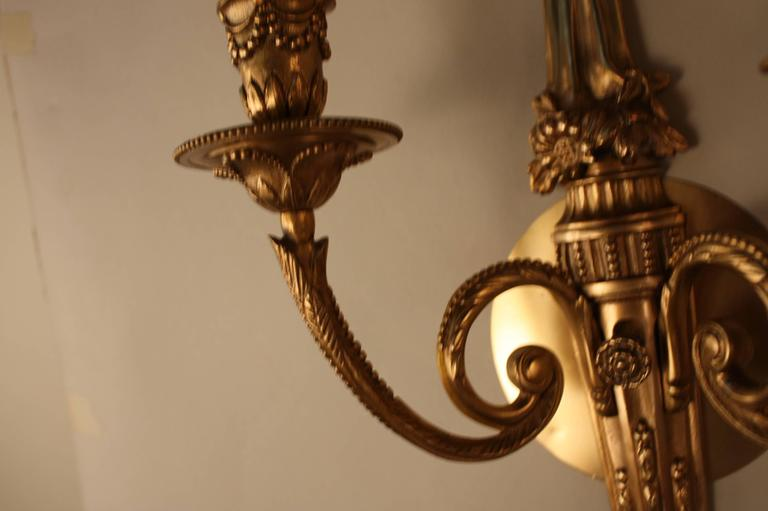 Large Elegant Wall Sconces : Elegant French Bronze Wall Sconces at 1stdibs