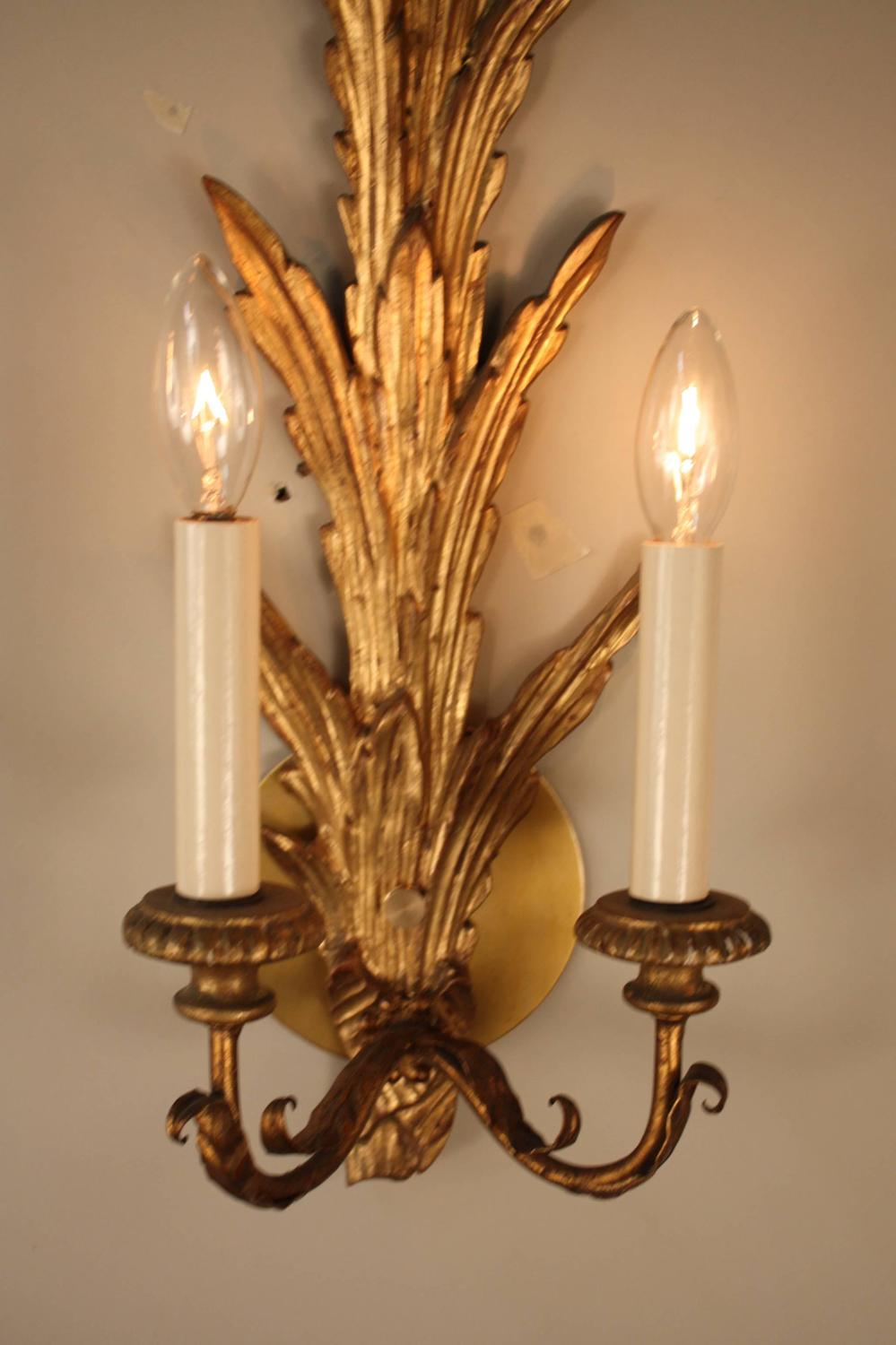 Wall Sconces Italian : Pair of Italian Giltwood Wall Sconces at 1stdibs