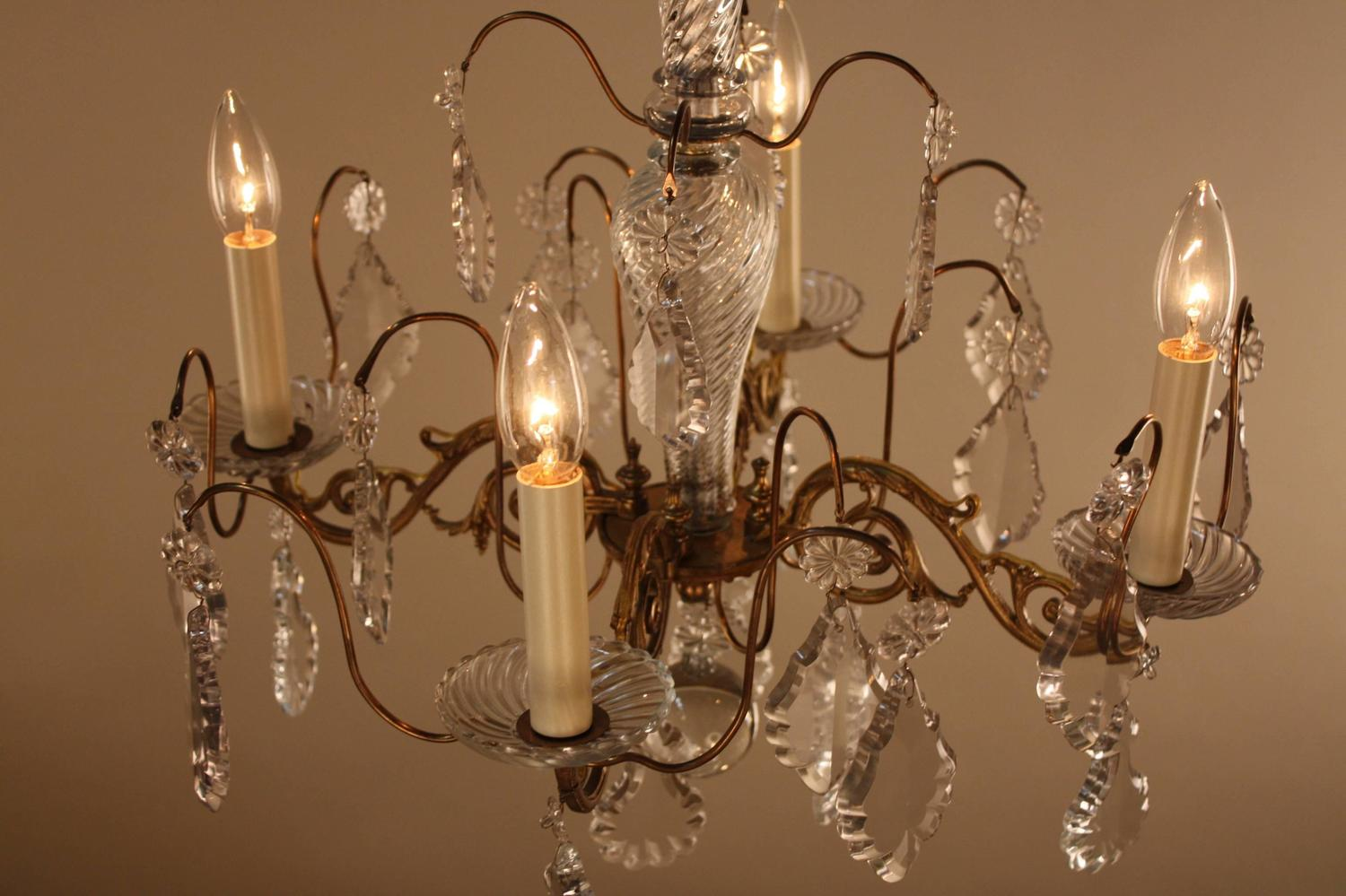 French Bronze And Crystal Chandelier At 1stdibs