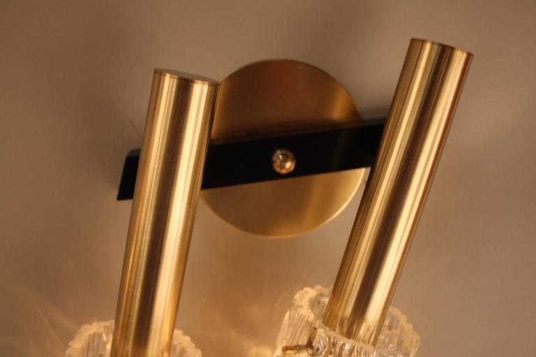 Pair of 1970s Modern Ice Glass Wall Sconces at 1stdibs