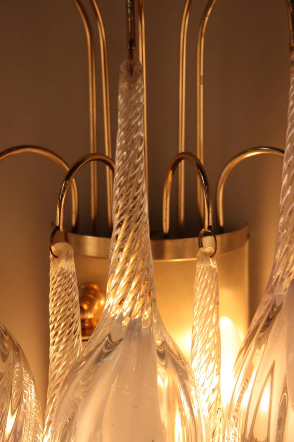 Wall Sconces Blown Glass : Pair of Italian Large Tear Drop Blown Glass Wall Sconces at 1stdibs
