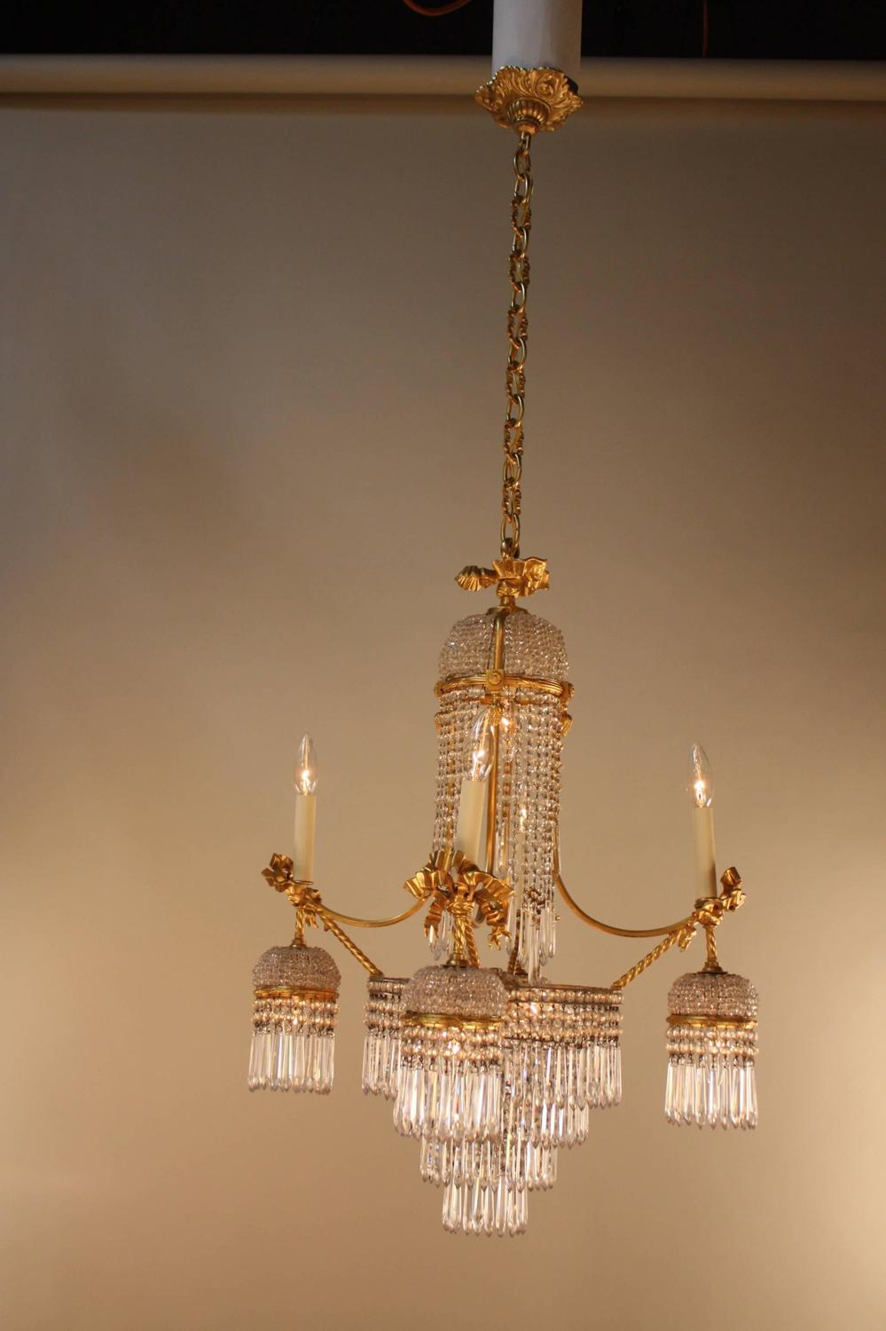 Elegant Crystal And Dor 233 Bronze Chandelier For Sale At