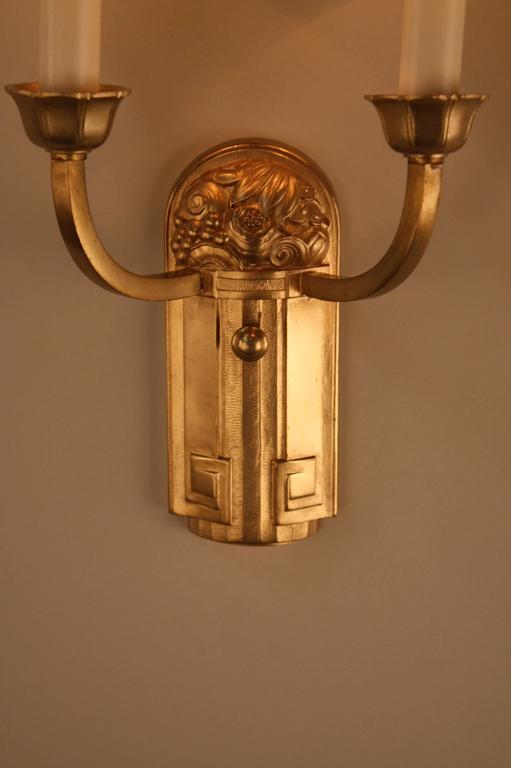 French Art Deco Wall Sconces : Pair of Bronze French Art Deco Wall Sconces at 1stdibs