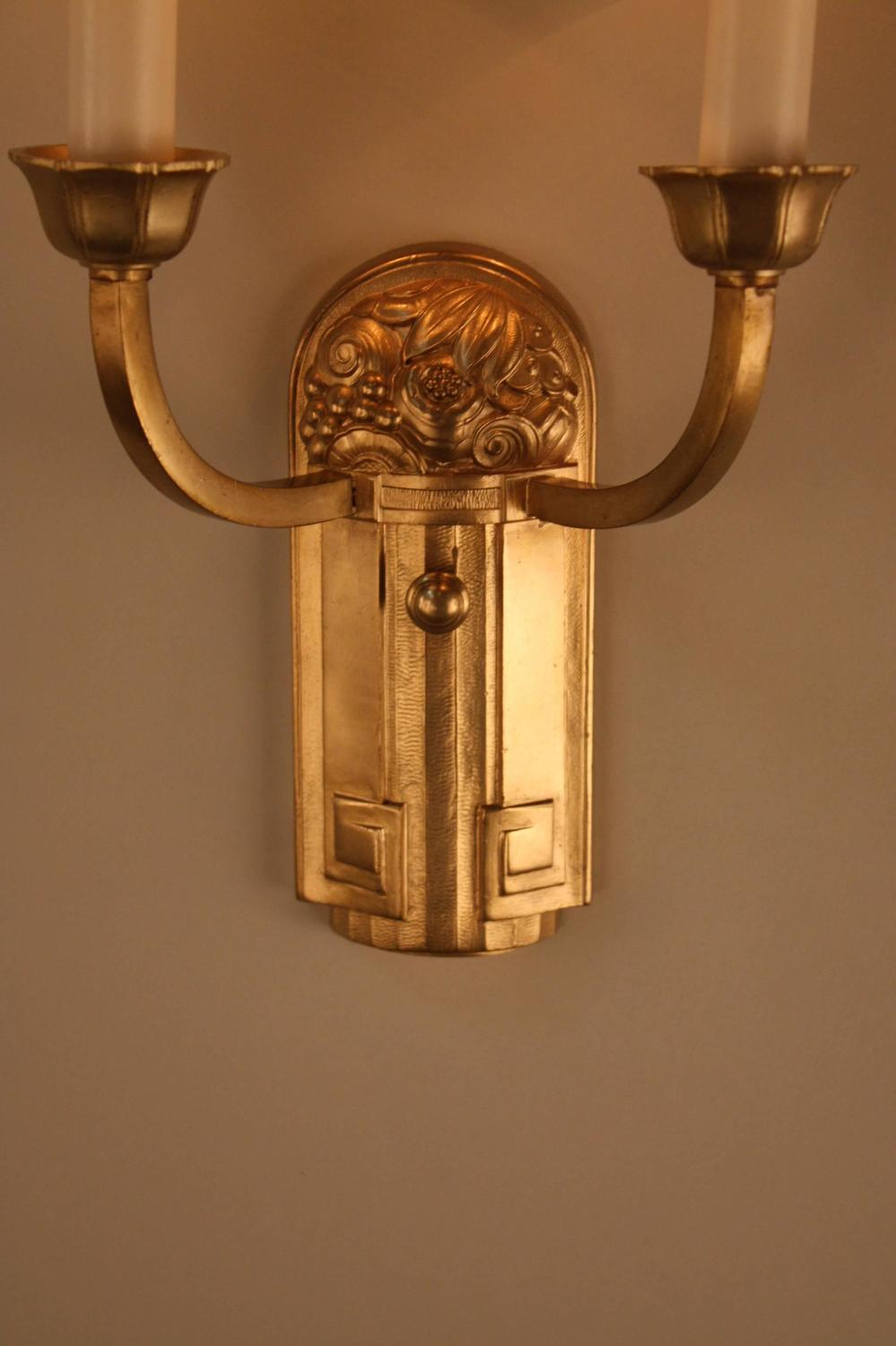 Pair of Bronze French Art Deco Wall Sconces For Sale at 1stdibs