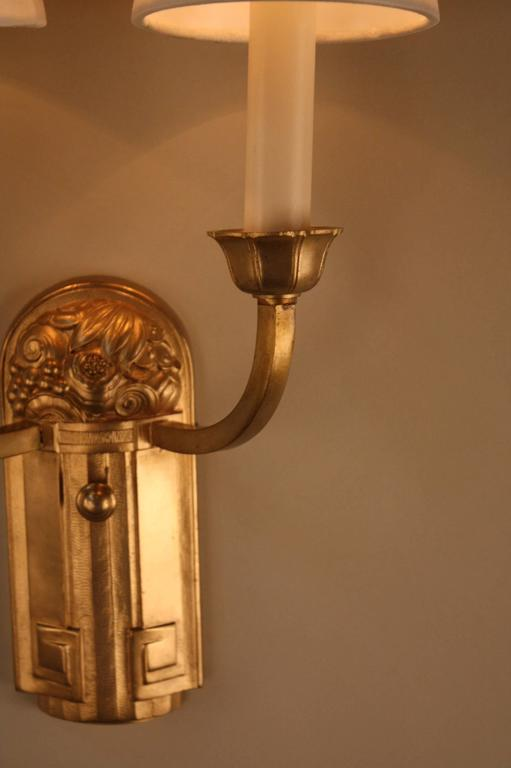 Art Deco Brass Wall Sconces : Pair of Bronze French Art Deco Wall Sconces at 1stdibs