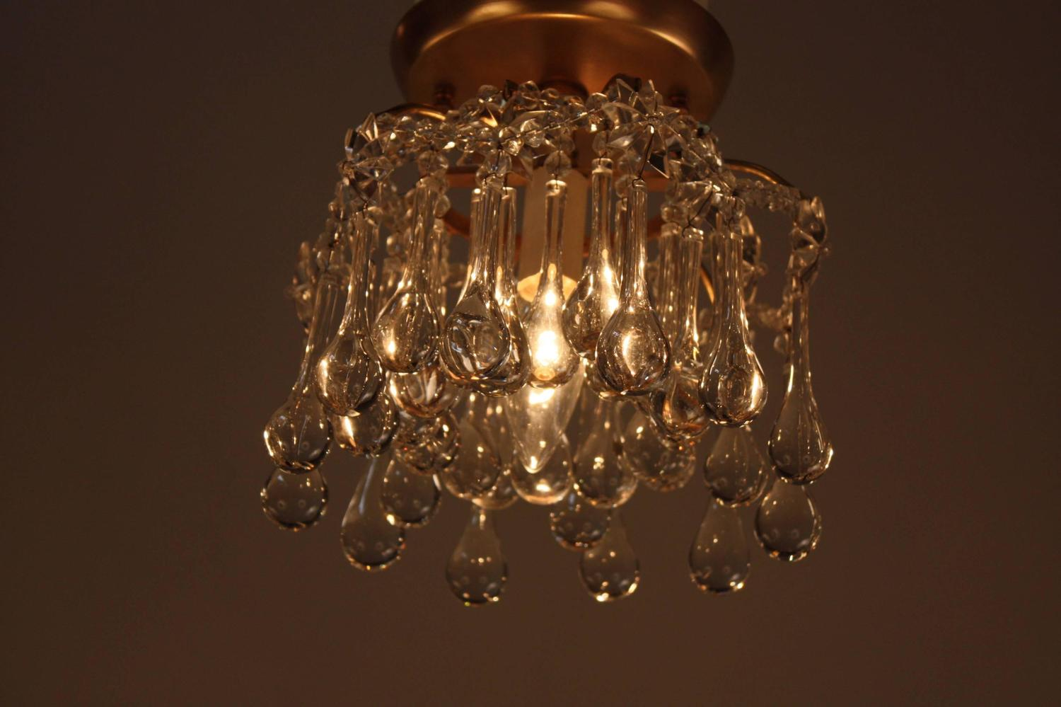 set of three french crystal flush mount ceiling lights at