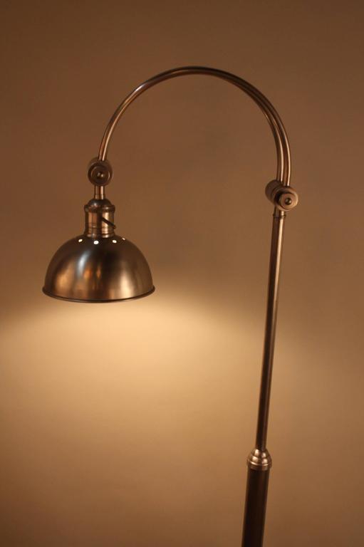 Spanish Adjustable Arm Satin Nickel Floor Lamp At 1stdibs