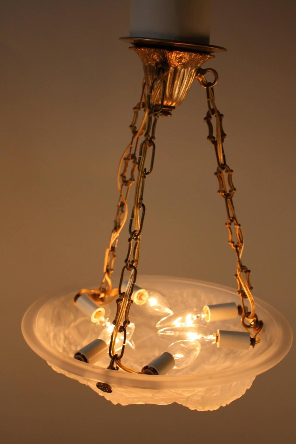 French Art Deco Glass Pendant Light For Sale At 1stdibs