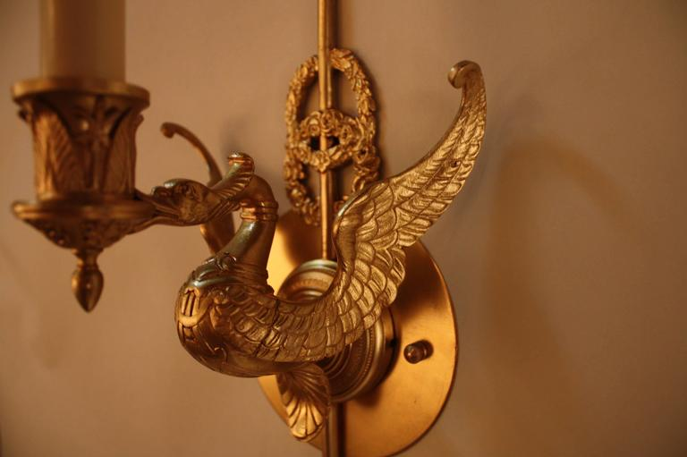 Pair of French Empire Style Bronze Swan Wall Sconces at ...