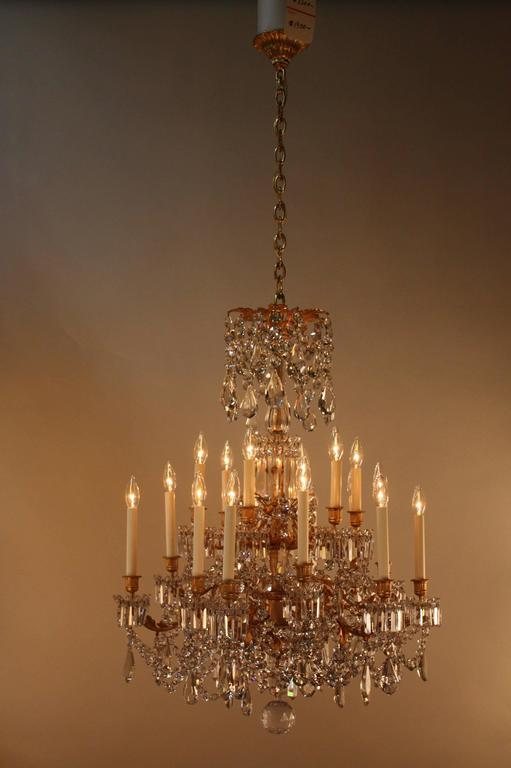 19th Century French Crystal and Bronze Doré Chandelier by Baccarat  4