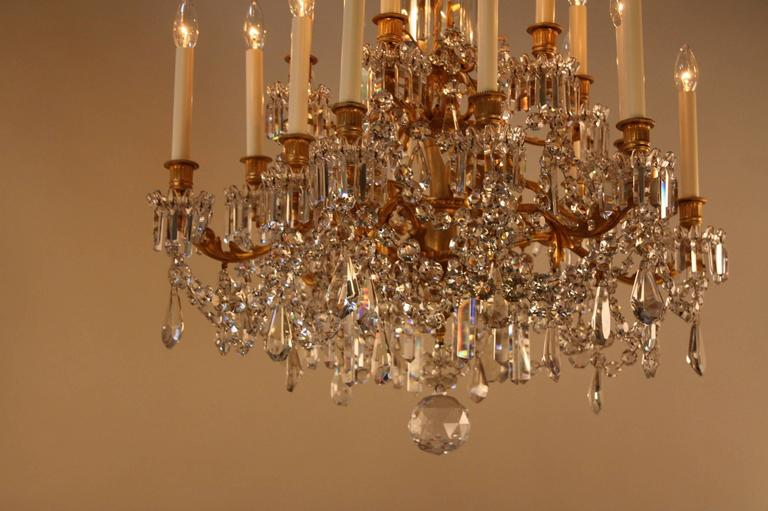 A Magnificent 19th Century Baccarat Crystal Chandelier With Three Tier 18 Lights And Beautiful Gilt
