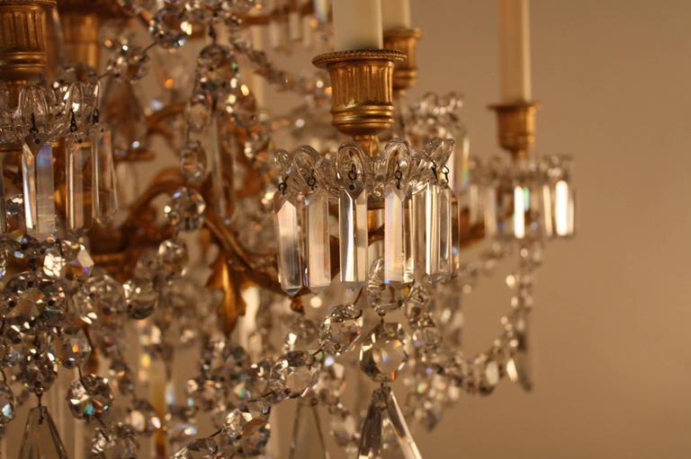 19th Century French Crystal and Bronze Doré Chandelier by Baccarat  5