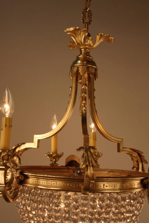 French Bronze And Crystal Basket Louis Xvi Style