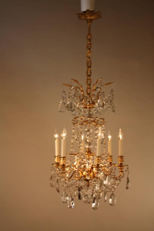 High Quality Crystal And Bronze Chandelier By Baccarat For