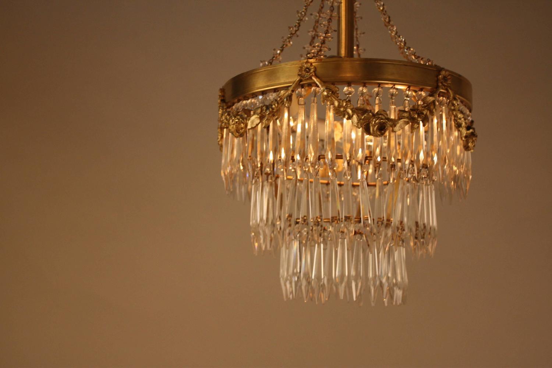 Elegant Crystal And Bronze Chandelier At 1stdibs