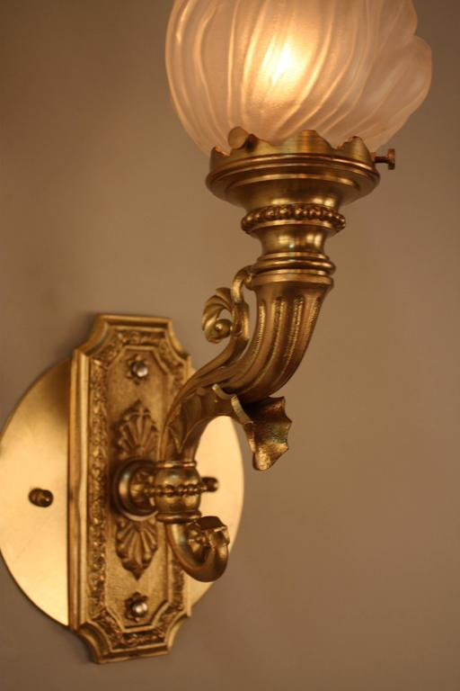 Wall Sconces That Look Like Torches : Pair of Bronze Torch Flame Glass Wall Sconces at 1stdibs