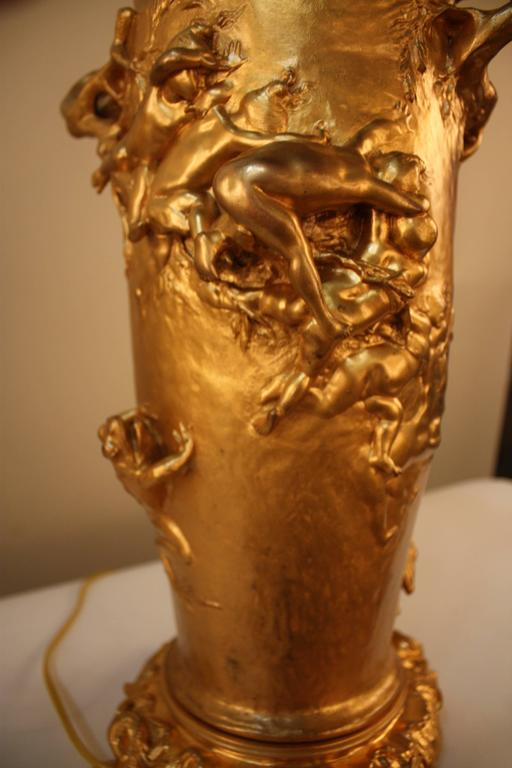 19th Century Doré Bronze Table Lamp by Gustave Joseph Cheret For Sale 2