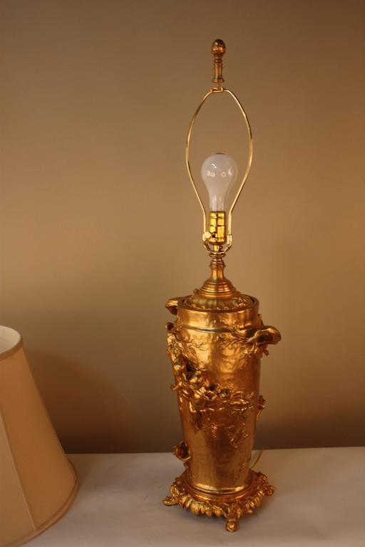19th Century Doré Bronze Table Lamp by Gustave Joseph Cheret 8