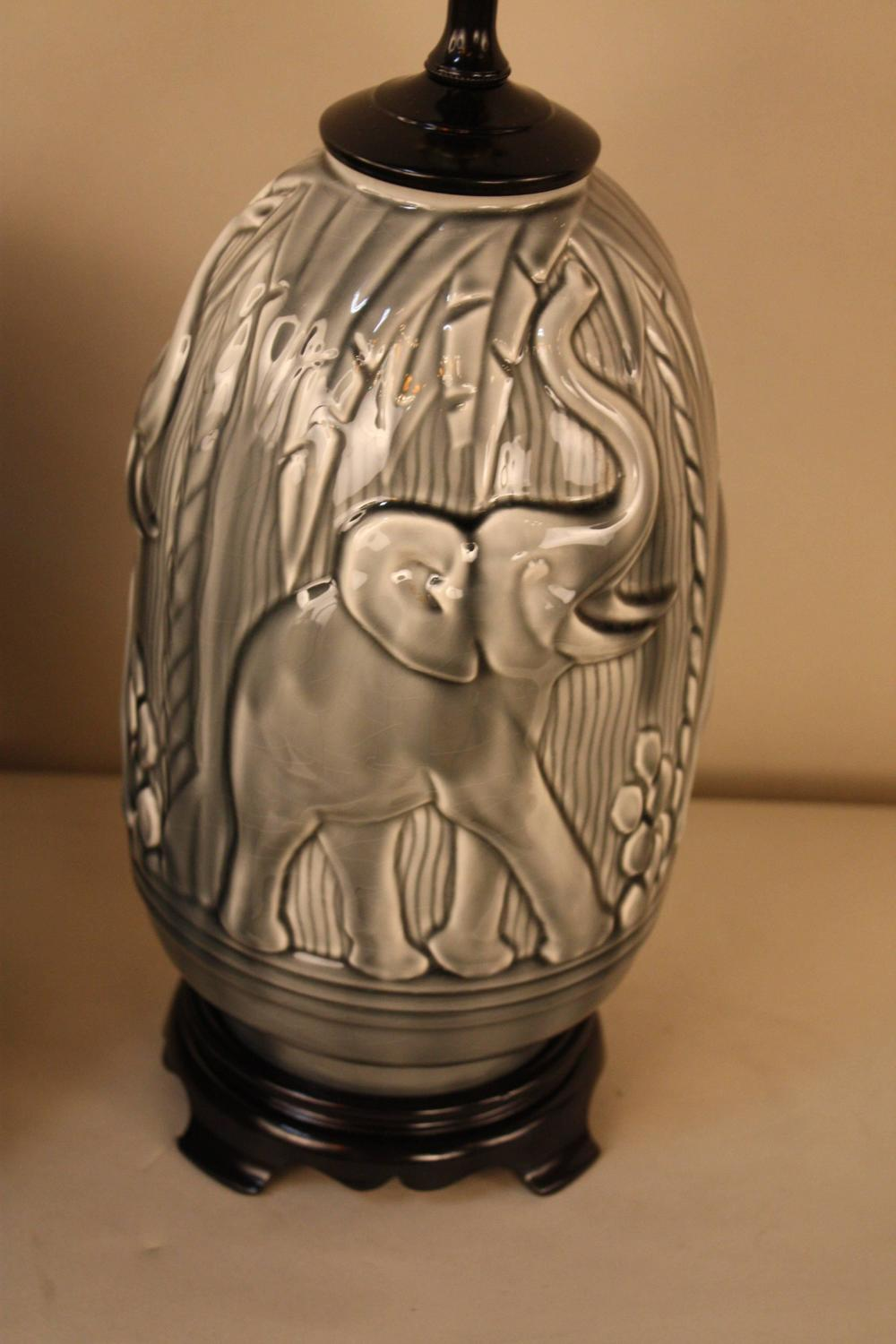 Elegant Pottery Table Lamp With Elephant Motif At 1stdibs