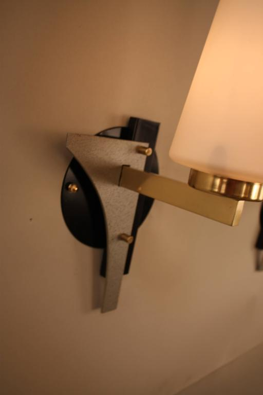 French Pair of Mid-Century Wall Sconces For Sale