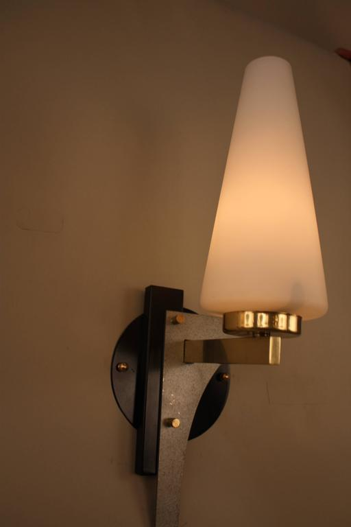 Glass Pair of Mid-Century Wall Sconces For Sale