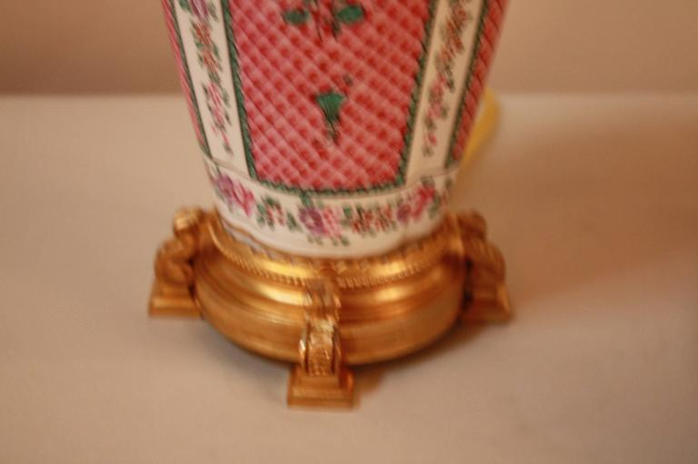 French Porcelain and Doré Bronze Table Lamp 4