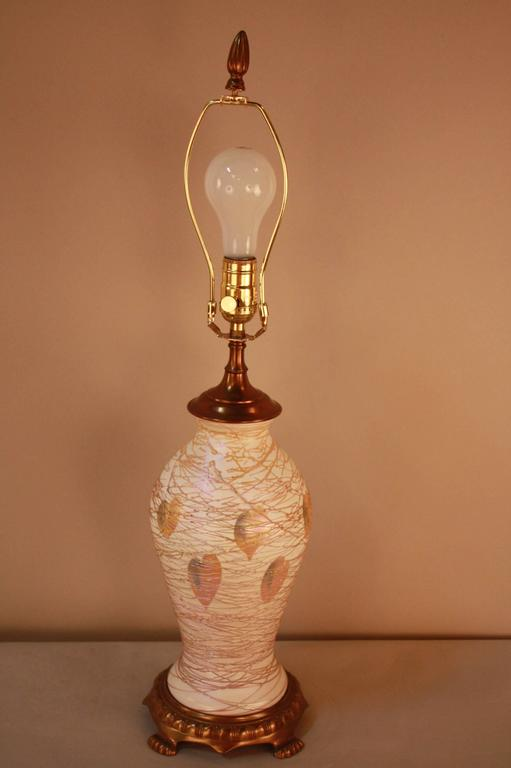 American Art Glass Table Lamp by Quezal For Sale 3