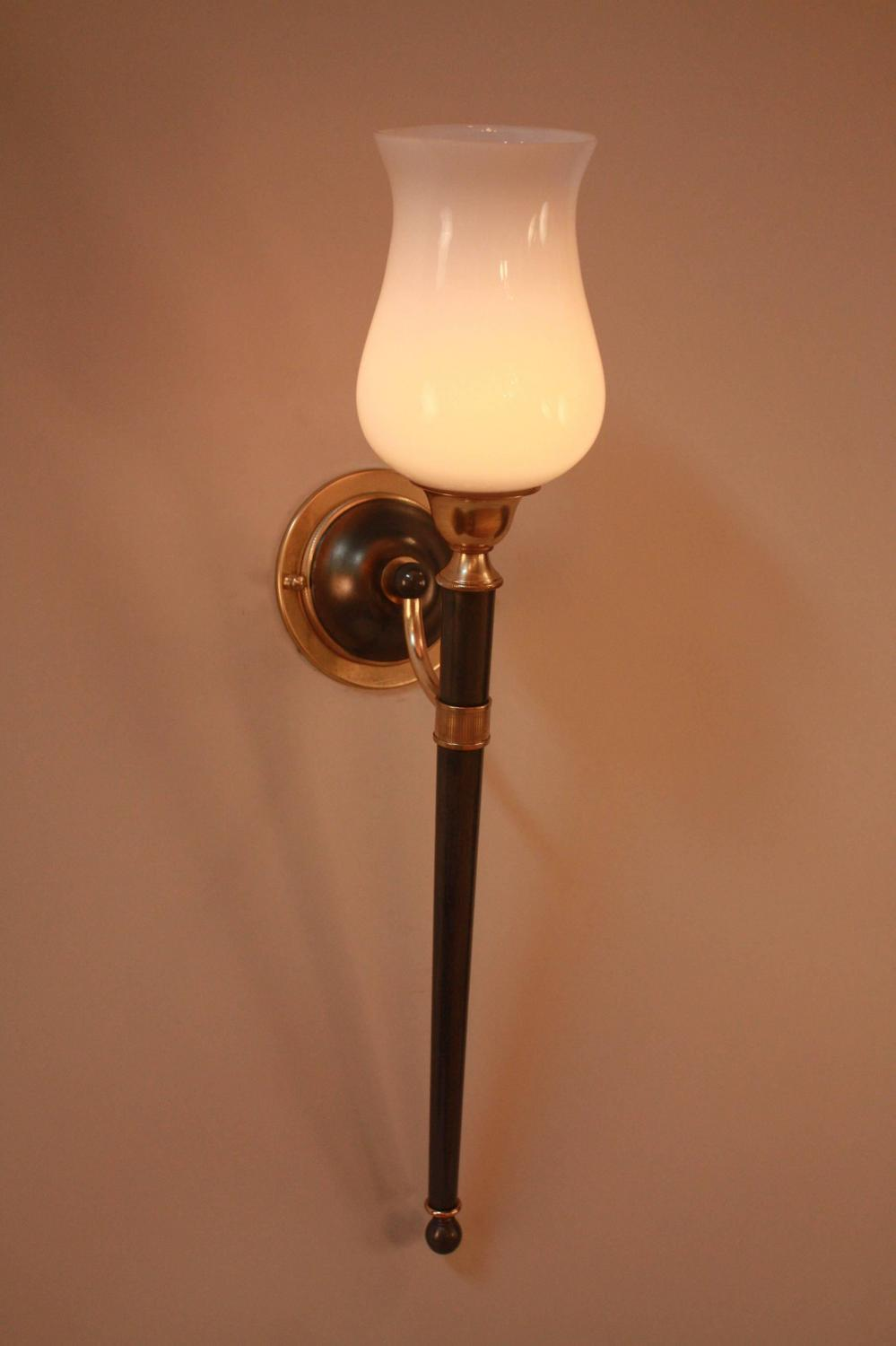 Pair of Torchiere Wall Sconces by Maison Jansen For Sale at 1stdibs