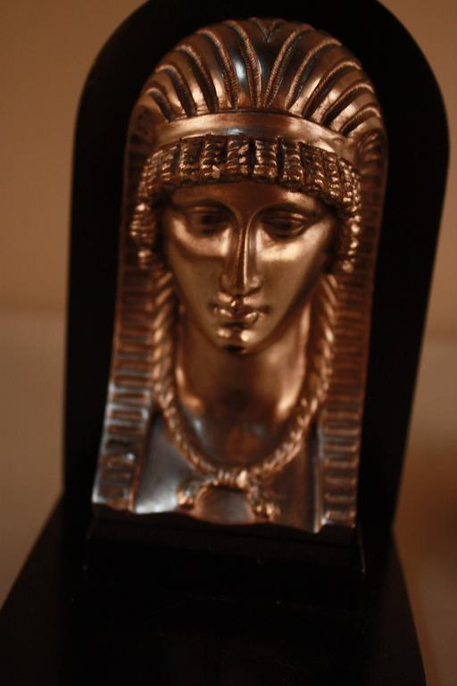 Nickel Egyptian Revival Art Deco Bookends For Sale