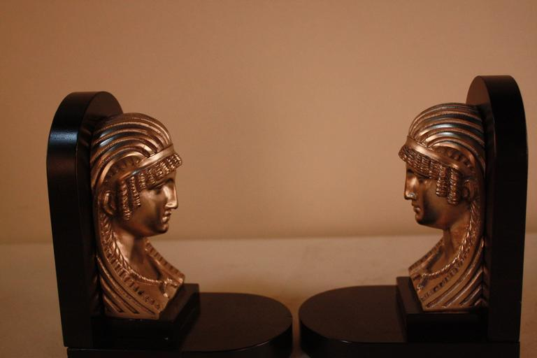 Mid-20th Century Egyptian Revival Art Deco Bookends For Sale