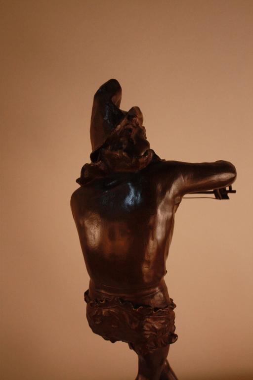 Bronze Sculpture of Harlequin Violinist by Jules Weyns In Good Condition For Sale In Fairfax, VA