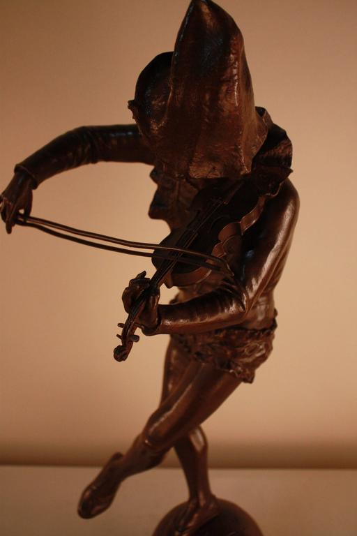 19th Century Bronze Sculpture of Harlequin Violinist by Jules Weyns For Sale