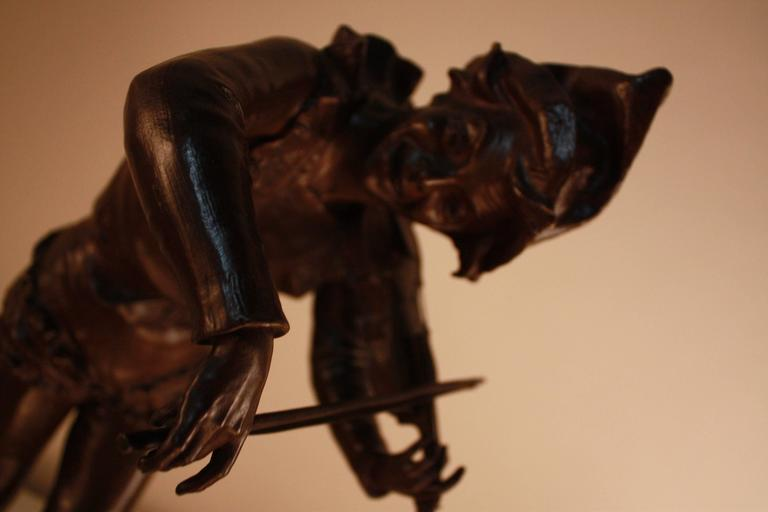 Bronze Sculpture of Harlequin Violinist by Jules Weyns For Sale 3