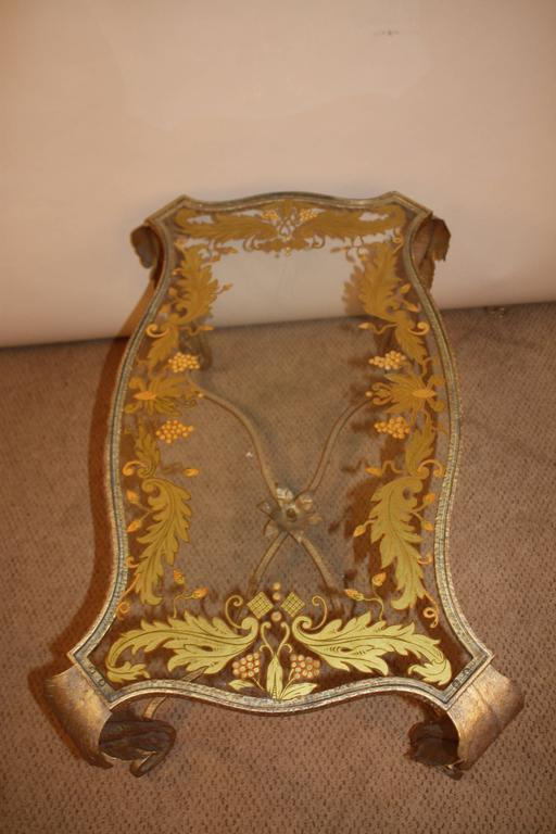 Gilt Italian Gold Leaf Glass Top Coffee Table For Sale