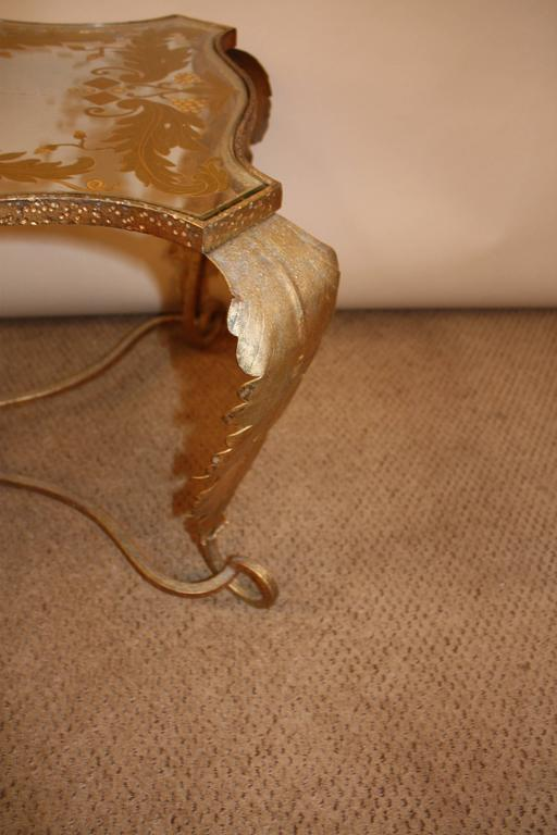 Italian Gold Leaf Glass Top Coffee Table For Sale 1