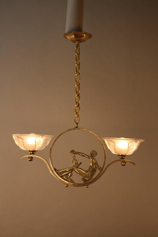 French Art Deco Bronze and Glass Chandelier 2