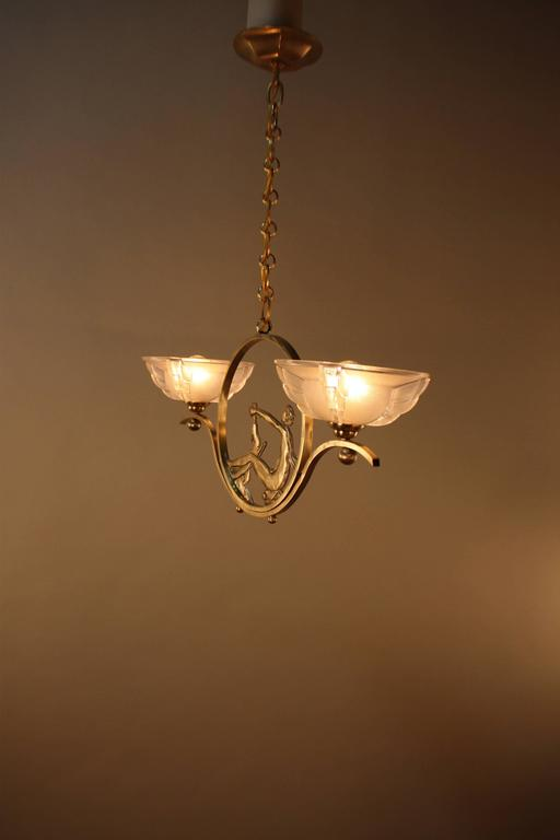 French Art Deco Bronze and Glass Chandelier 6
