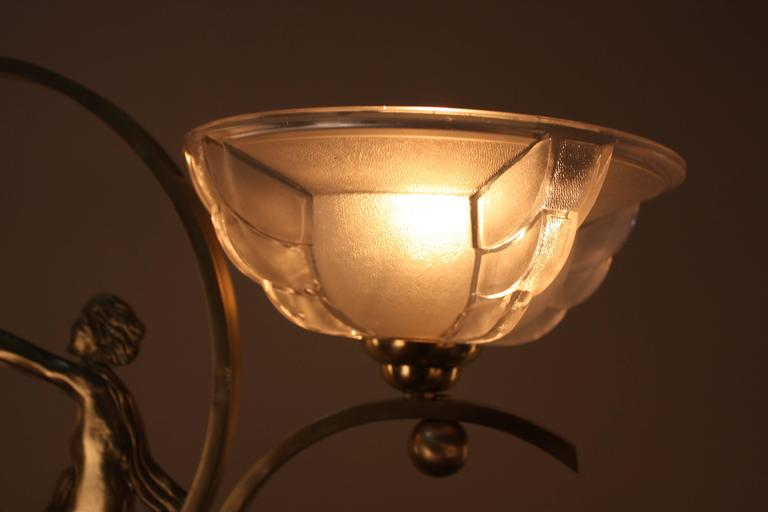 French Art Deco Bronze and Glass Chandelier 4