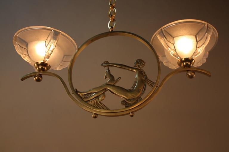 French Art Deco Bronze and Glass Chandelier 7