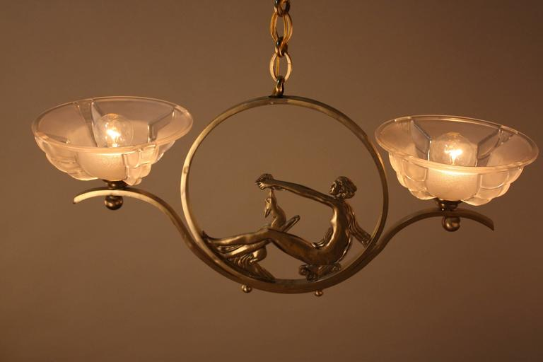 French Art Deco Bronze and Glass Chandelier 8