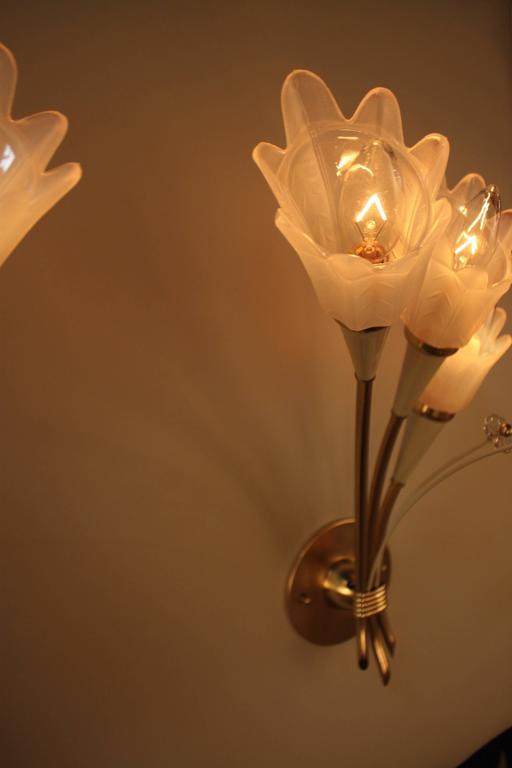 Pair of Mid-Century  Bronze and Opaline Glass Wall Sconces In Good Condition For Sale In Fairfax, VA