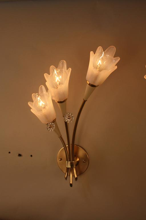 Mid-20th Century Pair of Mid-Century  Bronze and Opaline Glass Wall Sconces For Sale