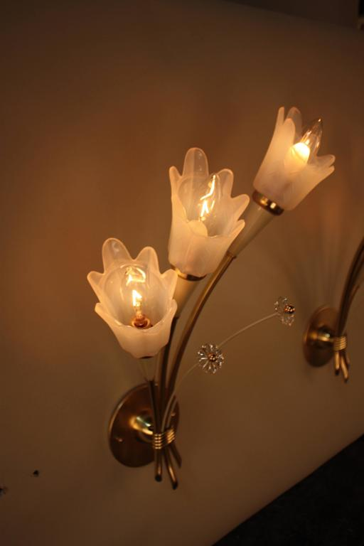 Pair of Mid-Century  Bronze and Opaline Glass Wall Sconces For Sale 1