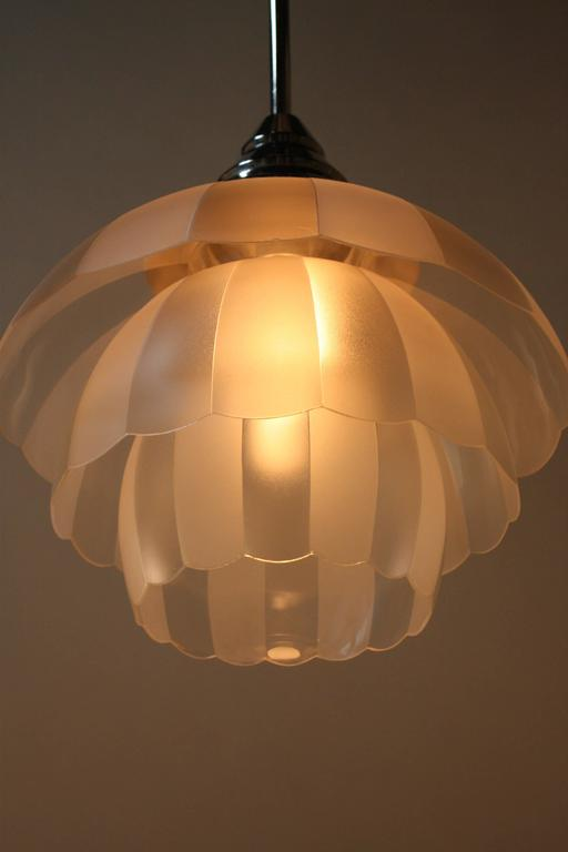 French 1930s Etched Glass Pendent Light At 1stdibs