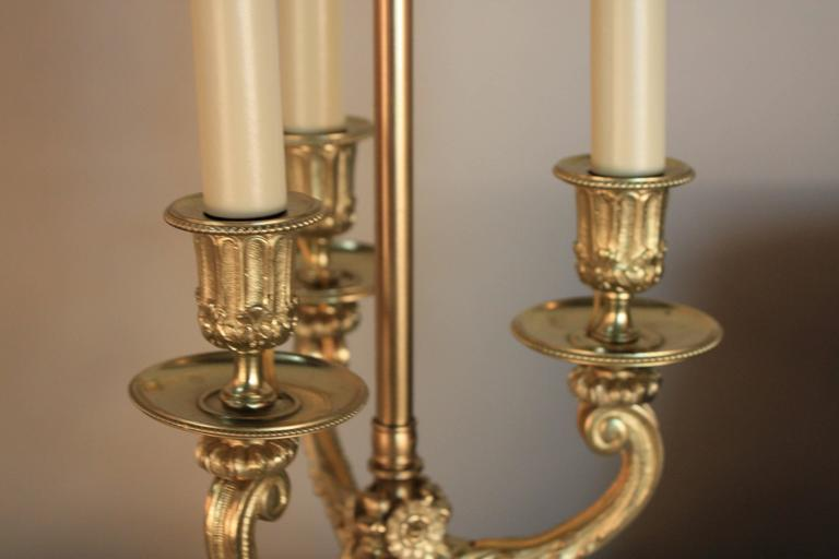 French 19th Century Bronze Candelabra Table Lamp For Sale 3